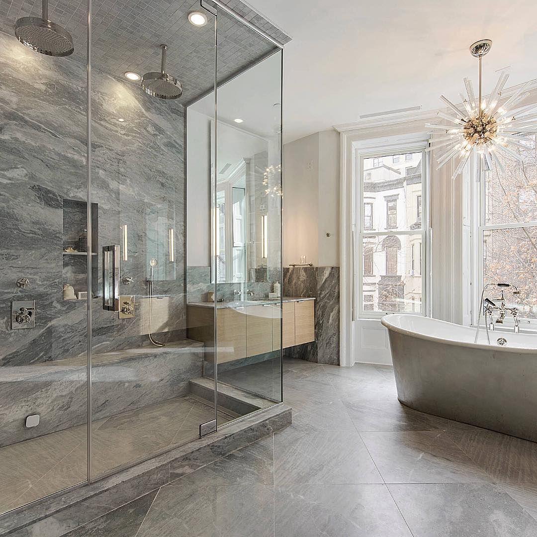 Rain Shower And A Stand Alone Tub Features I Would Love In My Master Bath By Heartfelt Townhous Contemporary Master Bathroom Luxury Bathtub Bathroom Design