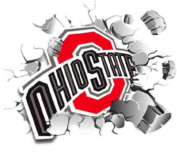 osu wall decal the ohio state logo busting wall decal on wall logo decal id=36825