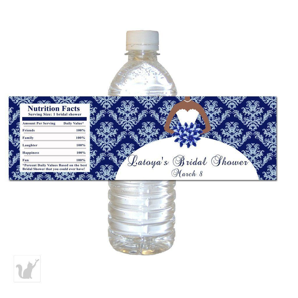 Blue Damask Dress Bridal Shower Bottle Label African American ...
