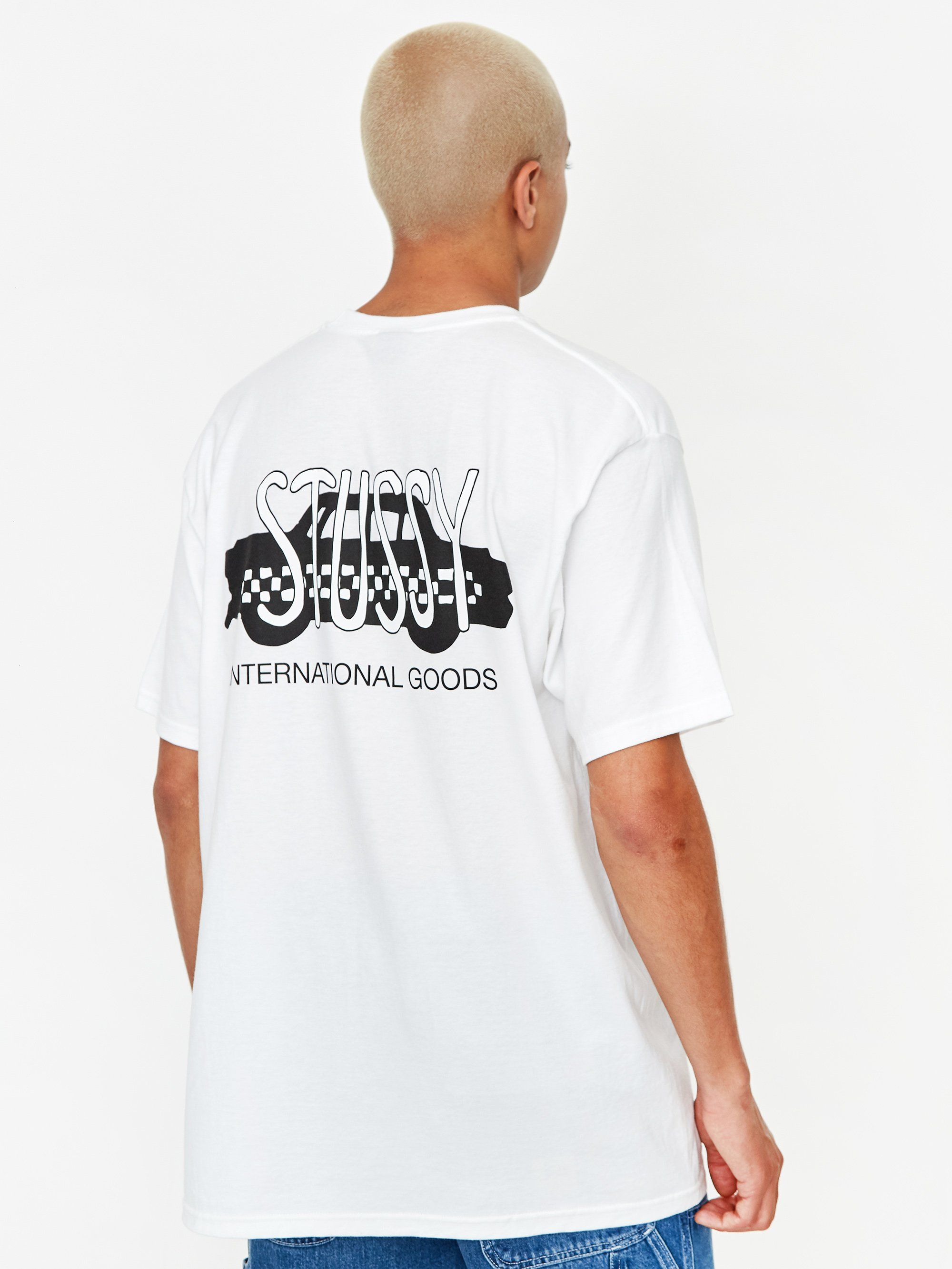 Stussy Taxi Cab Shortsleeve T-Shirt - White in 2021 | White cotton t shirts,  T shirt, Shirts white