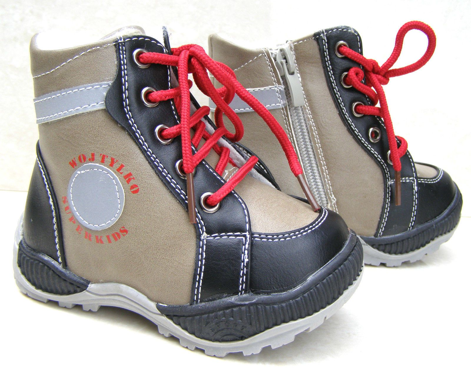 Black Baby Boys Zip Laces Fur Lined Warm Boots Winter Snow Shoes Uk