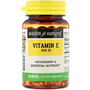 Mason Natural Vitamin E 180 Mg 400 Iu 100 Softgels In 2020 Natural Vitamin E Natural Vitamins Vitamin E