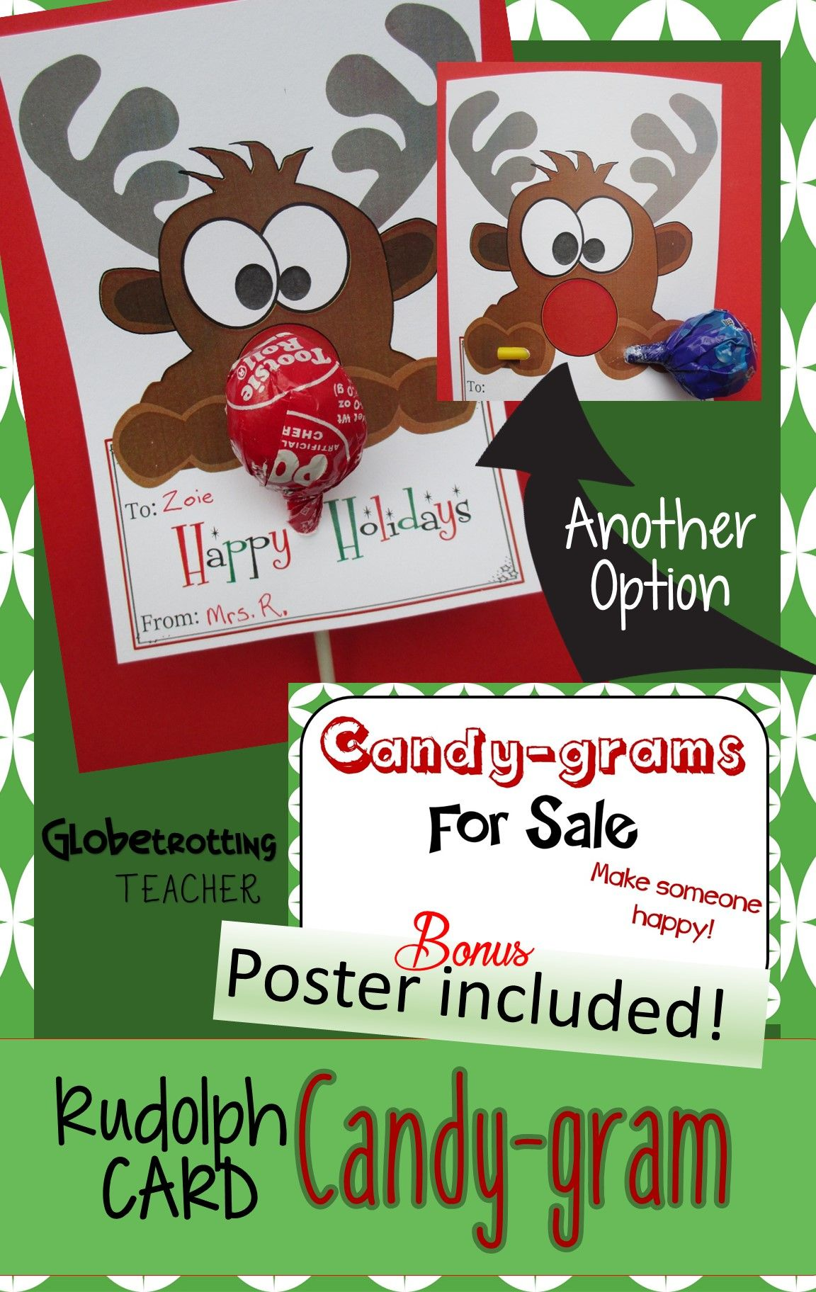 Holiday Cards Rudolph Candy Gram Christmas Lollipop Card Poster