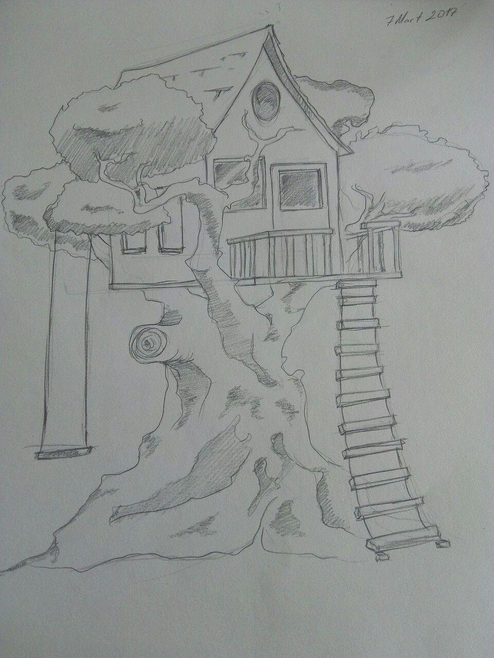 Treehouse house garden draw stairs salıncak | Desenhos escuros, Desenhos,  Atelier