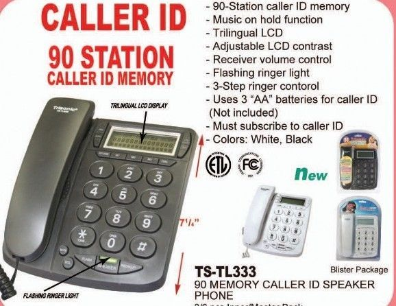 Caller ID Phone for wall or desk with Speaker Music on Hold White