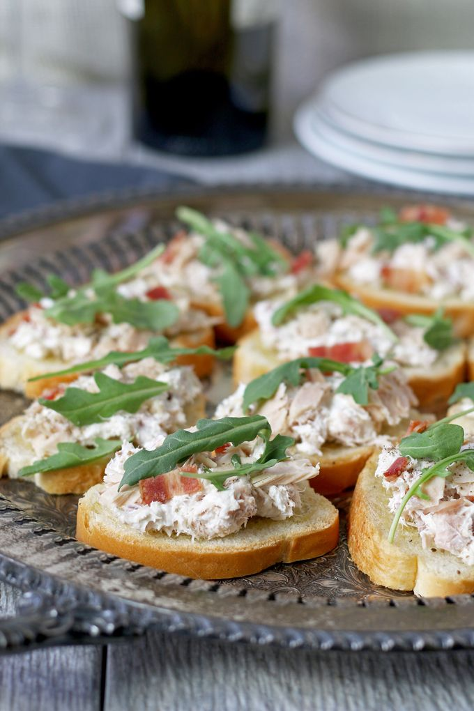 Tuna bacon crostini is a great last minute appetizer it only takes it only takes 10 minutes to put together and is the perfect finger food for dinner parties honeyandbirch forumfinder Choice Image
