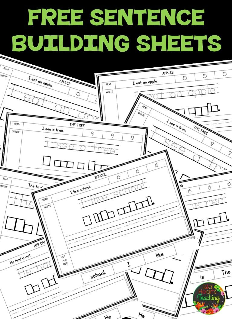Sentence Building Worksheets (FREE) | TpT FREE LESSONS | Pinterest ...