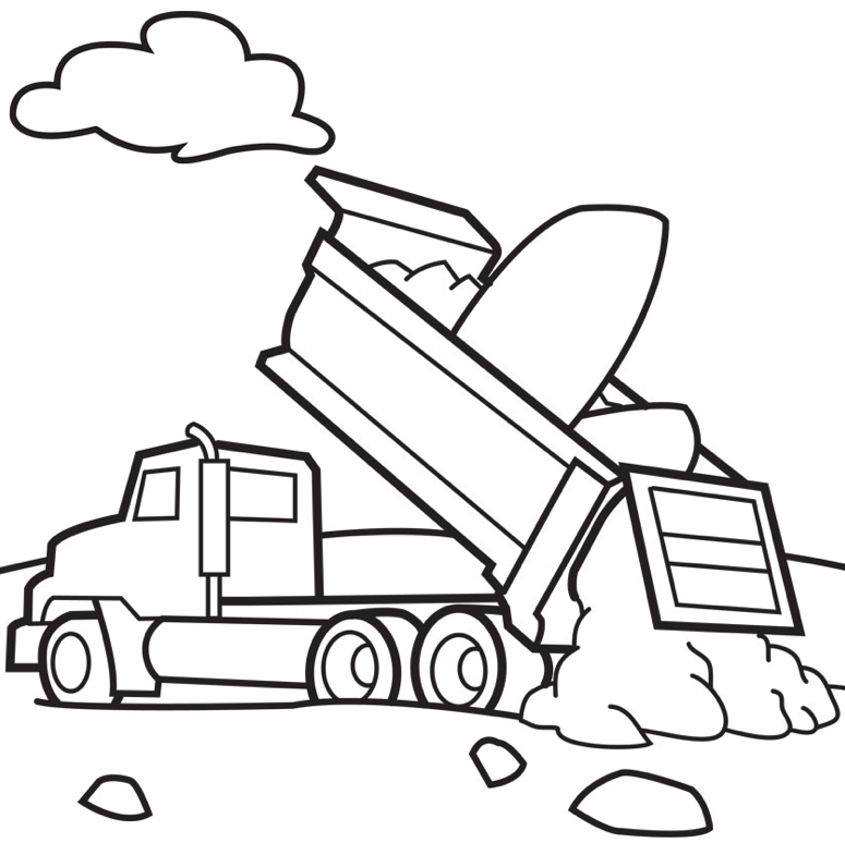 Print coloring page and book, Dump Trucks Coloring Page for kids of ...