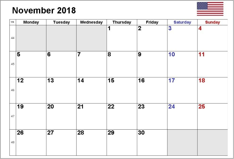 November 2018 Usa Calendar Printable Calendar Calendar Usa Calendar