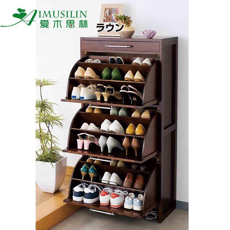 Kitchen Shelf Rack Singapore: Solid Wood Rotating Shoe Rack Tipping Shoe Shoe Shoe