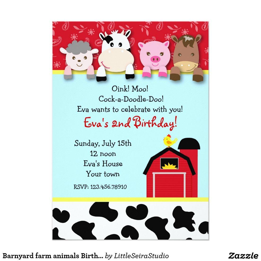 Barnyard farm animals Birthday Party invitations   Matt\'s 3rd Bday ...