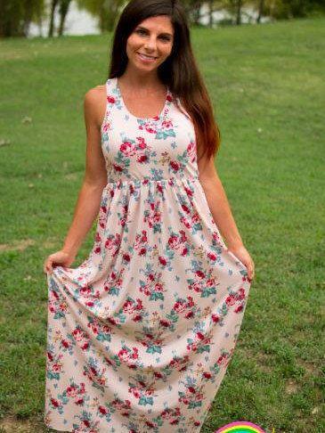 e26119e6338b Womens Dress PDF sewing patterns, Racerback Tank Maxi Dress sewing patterns  for Women, circle skirt