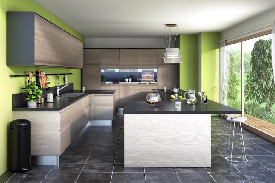 Meuble de cuisine taupe avec ilot de cuisine noir mat, plan de - hotte integree dans meuble haut