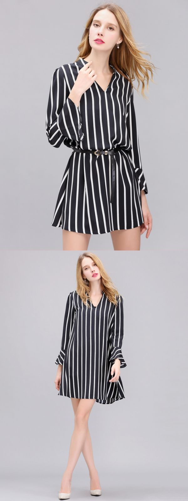 Women chiffon long sleeve black and white stripe slim dress maria b