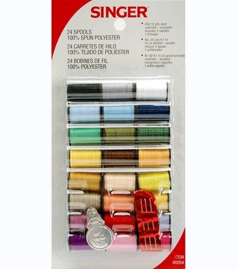 Singer 24 Spools Assorted Polyester Hand Sewing Thread Spools assorted colors