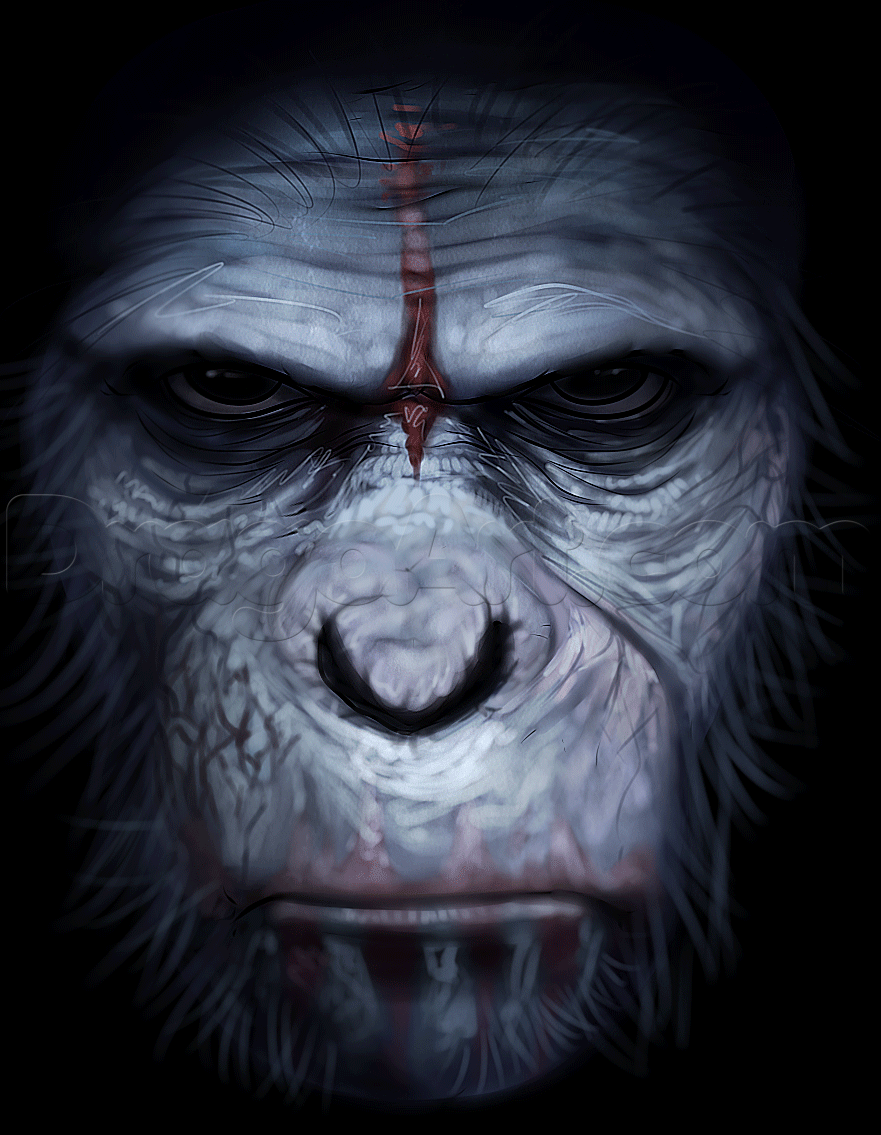 How To Draw Caesar From Rise Of The Planet Of The Apes Planet Of The Apes Guided Drawing Drawings