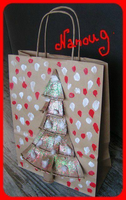 10 Noel Sac Cadeau Kraft Cadre Rouge Cadeaux Noel Maternelle