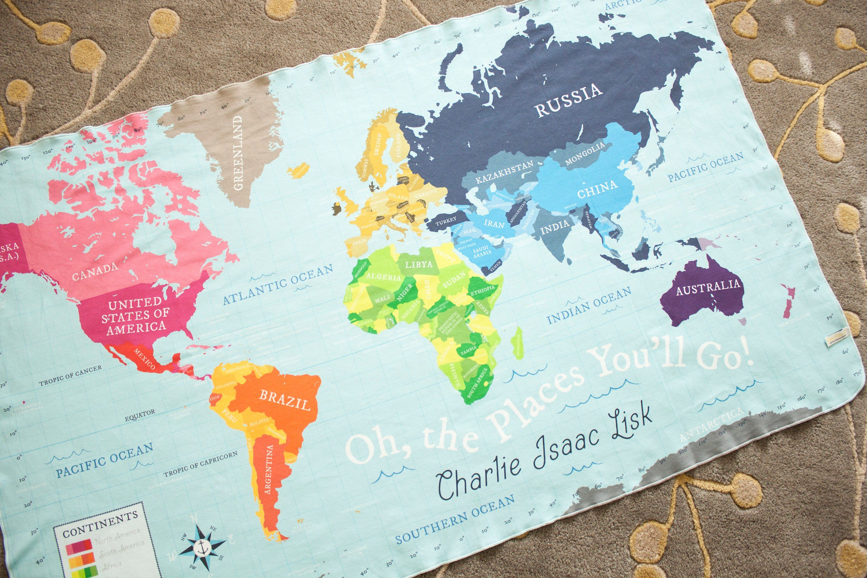 Organic World Map Blanket - Personalized Baby Name Blanket ... on world map silhouette cameo, world map headboard, world map side table, world map coverlet, world map women's clothes, world map bedding set,
