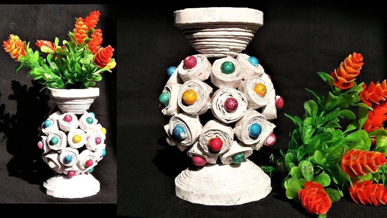How To Make Flower Pot With Newspaper Papercraft Pinterest