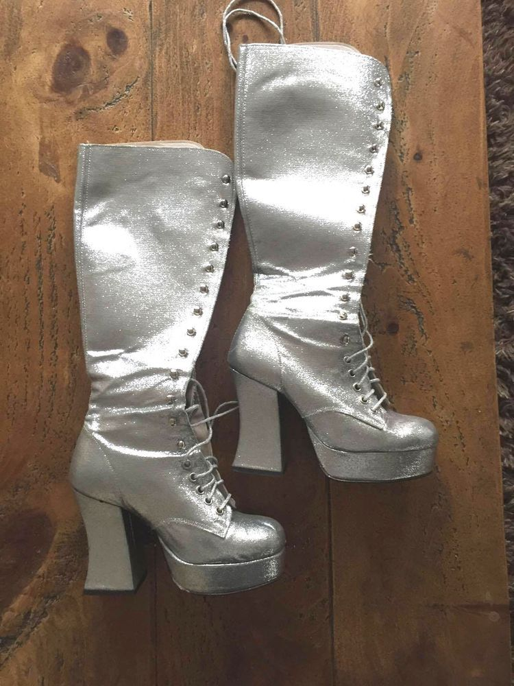 f8969dc73 Silver glitter Abba, 70's knee high platform boots, lace up front Fancy  dress #Unbranded