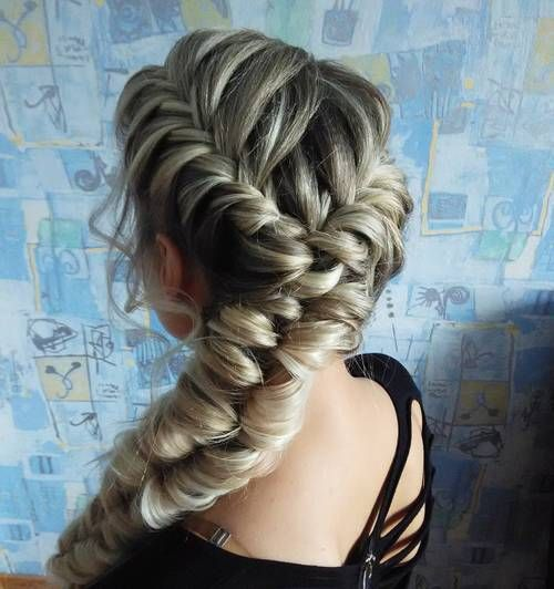 Looped Fishtail For Long Thick Hair Plaits Hairstyles Hair Styles Two French Braids