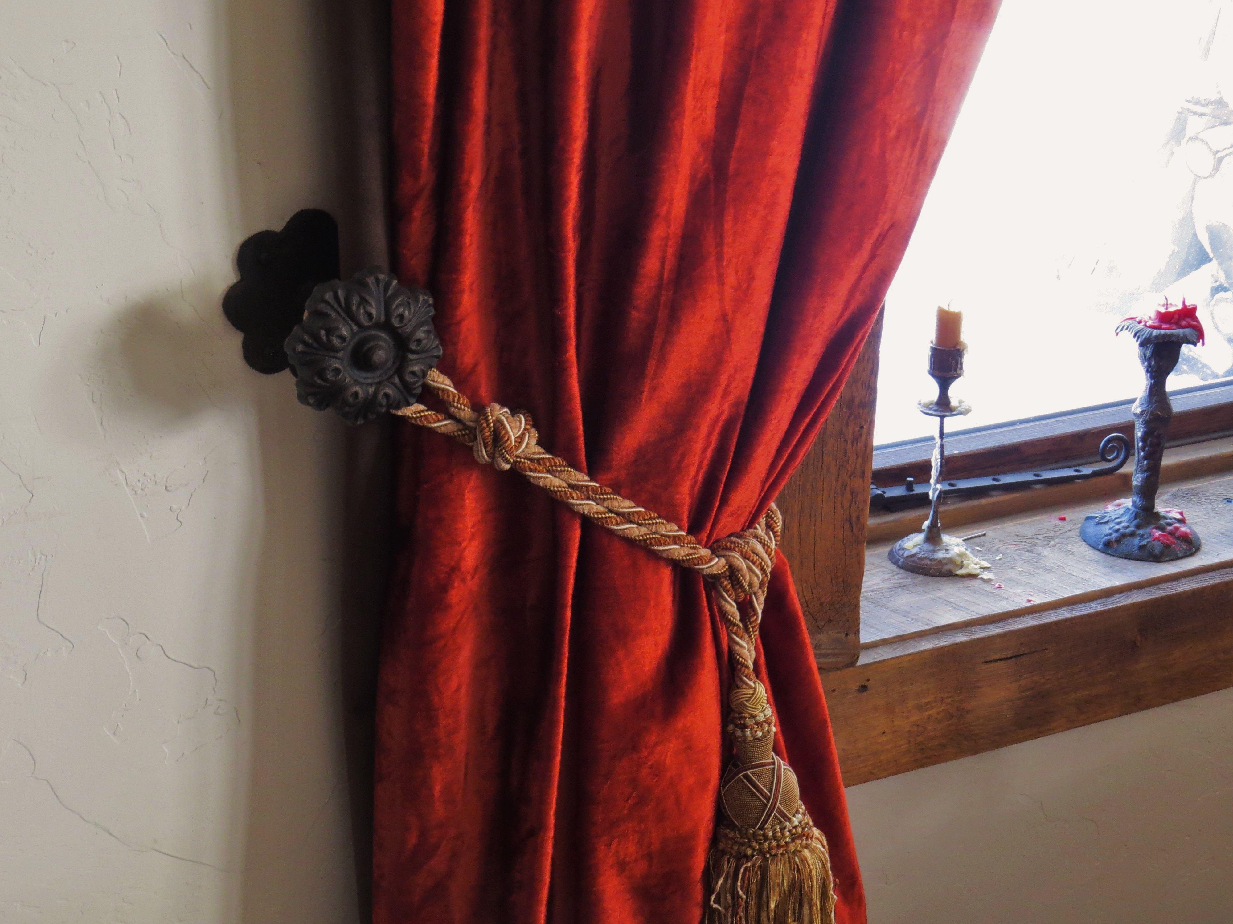 Iron Rosette Curtain Tie Back Victorian Curtain Rods