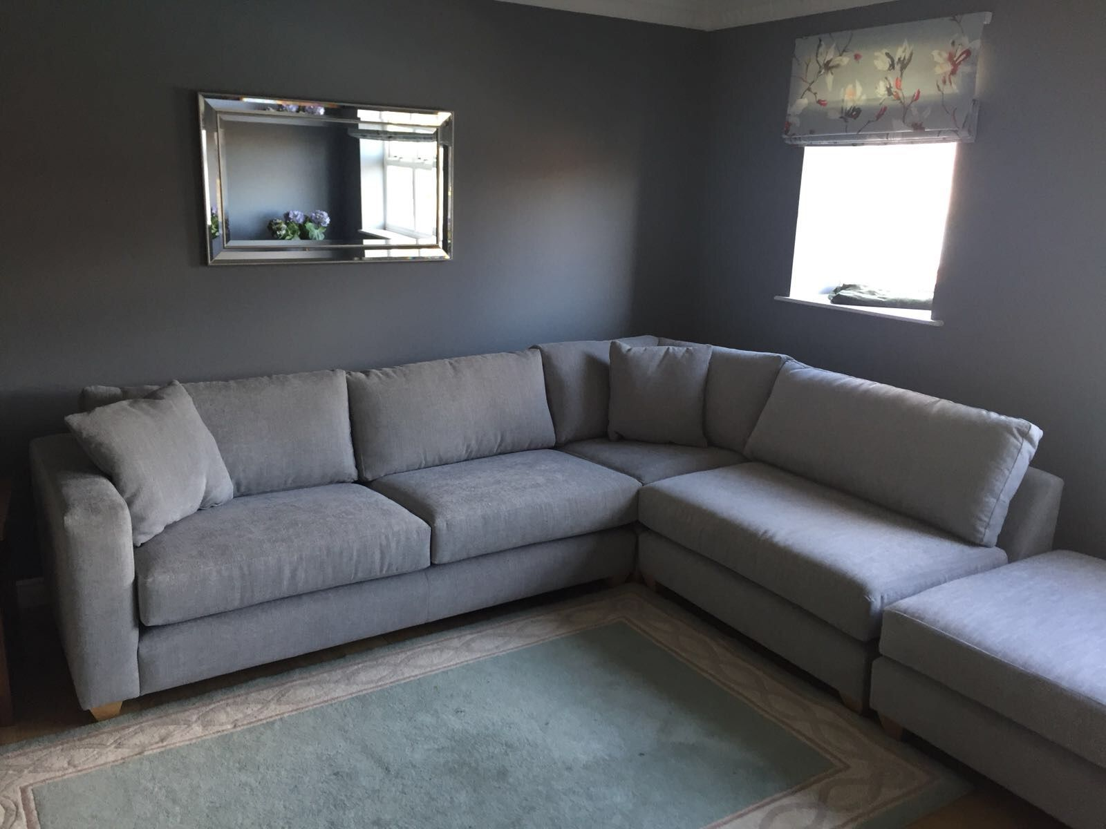 Mapperley Corner Sofa 285 Cm X 200 Cm With Matching Cushion Top Footstool 91 Cm X 91 Cm All Covered In J Brown Porto 23 Mist Fr Corner Sofa Chaise Corner Sofa Sofa
