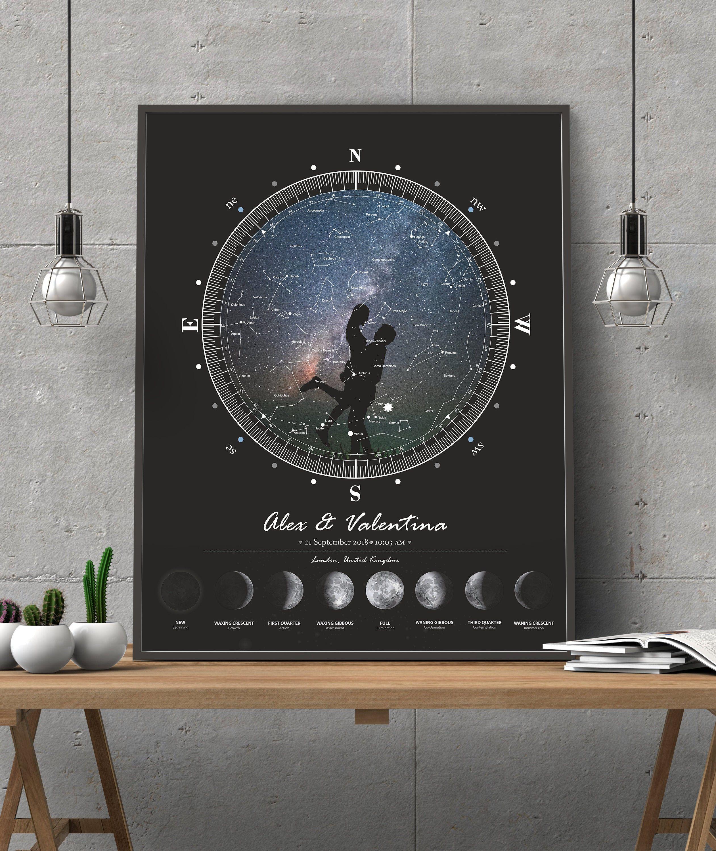 custom star map night sky print by