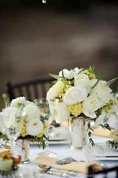 white, cream, yellow, creamy yellow round centrepiece for weddings - Google Search