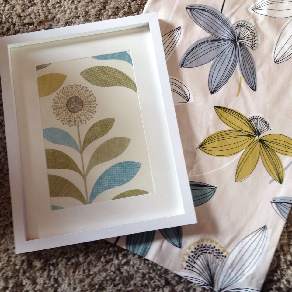 Romolo by Dunelm kitchen curtains and a framed wallpaper sample ...