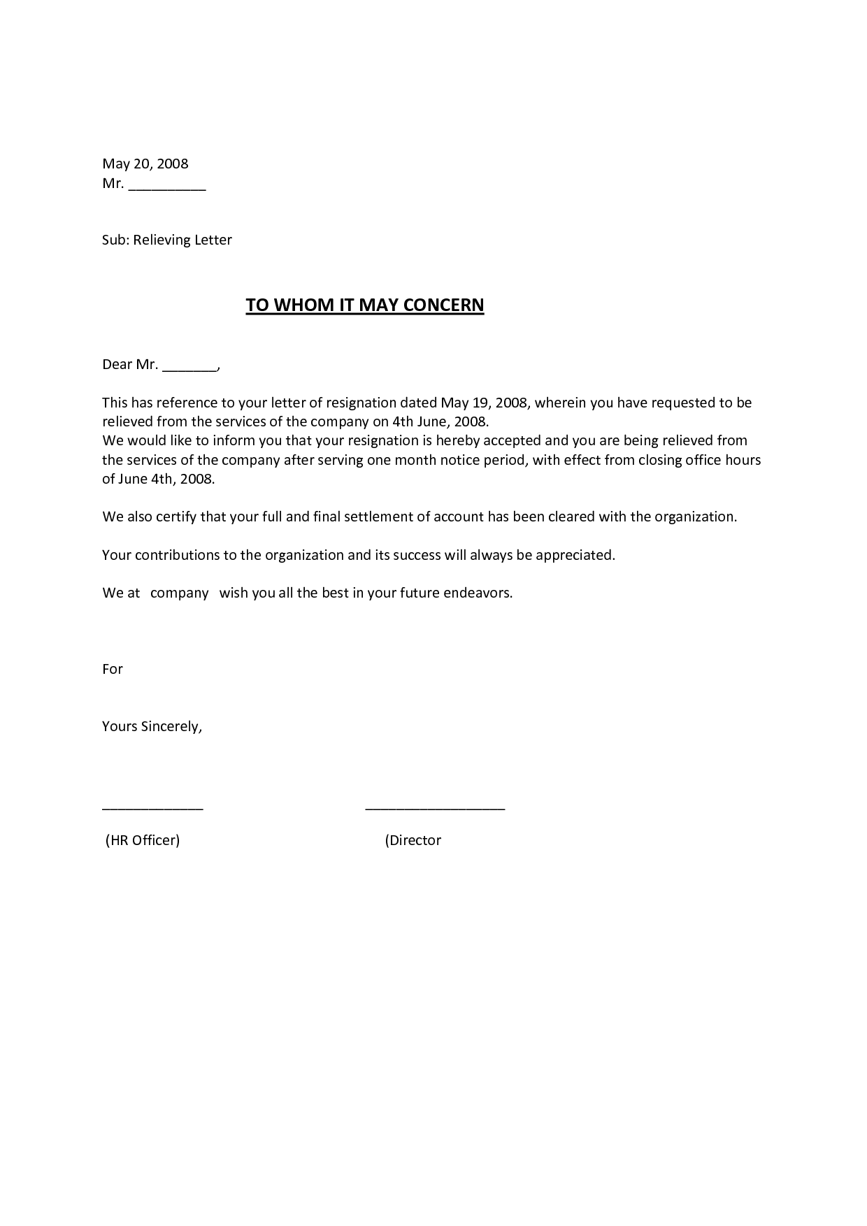 relieving letter format for employee free download hr letter