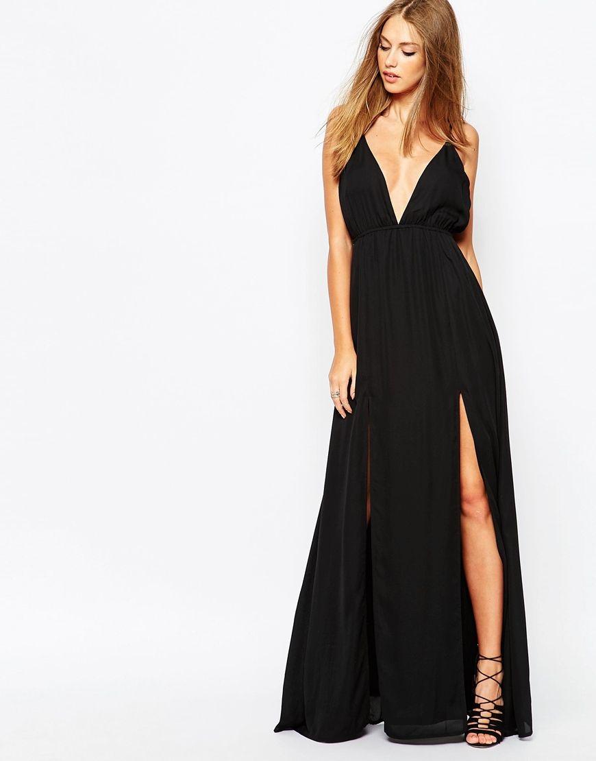 Image of missguided chiffon plunge maxi dress fashion