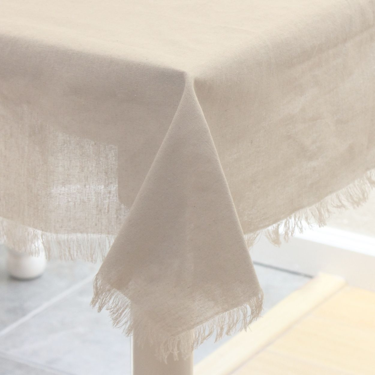 Burlap And Silk 54 Inch Square Linen Tablecloth With Fringed