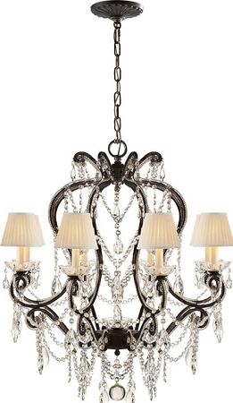 Visual Comfort Rl5230ag S Ralph Lauren Adrianna Small Chandelier In Antique Gild With Antiqued Crystals And Silk Shades