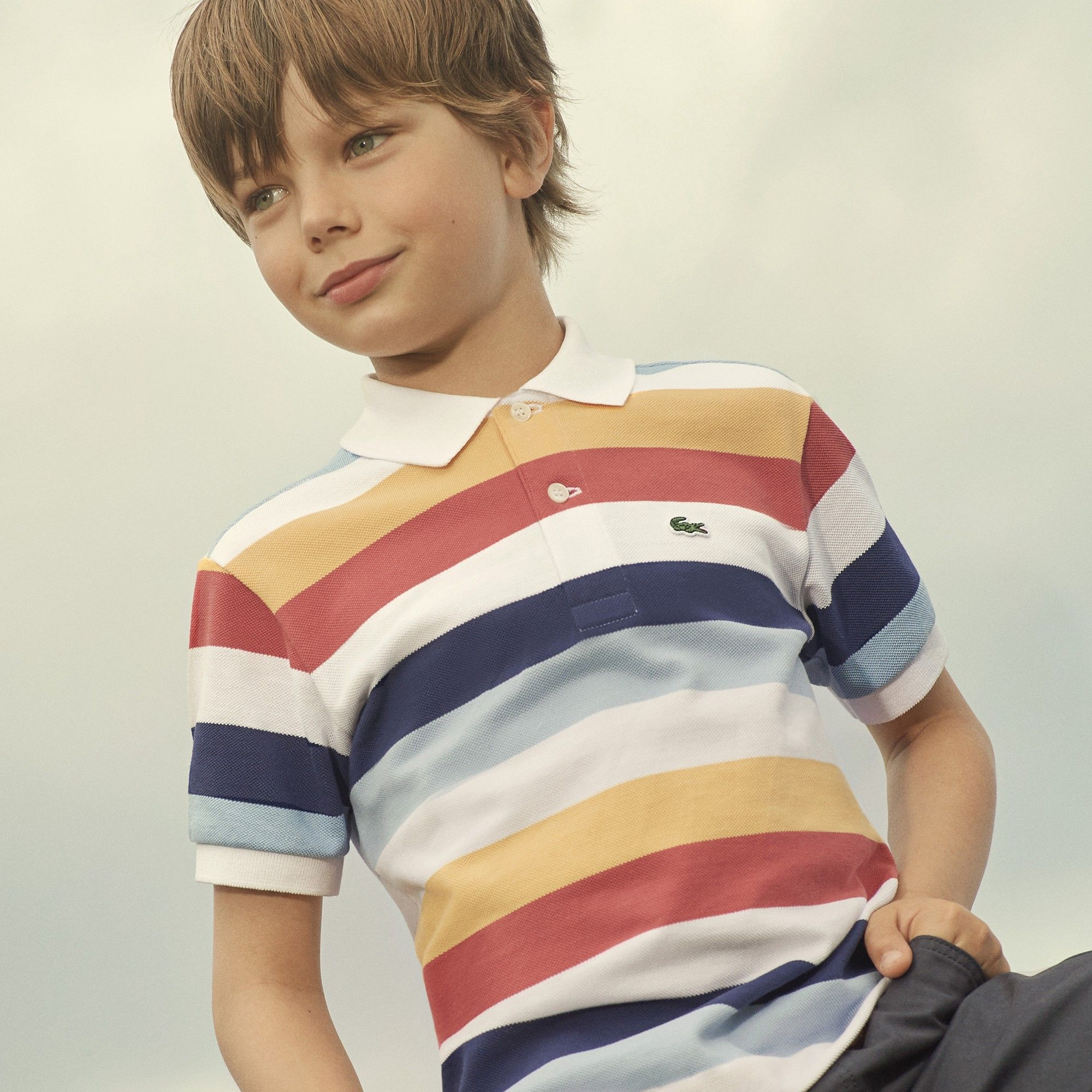 5ce438e5 Lacoste Boys' Colored Stripes Piqué Polo - White/Dragonfly ...