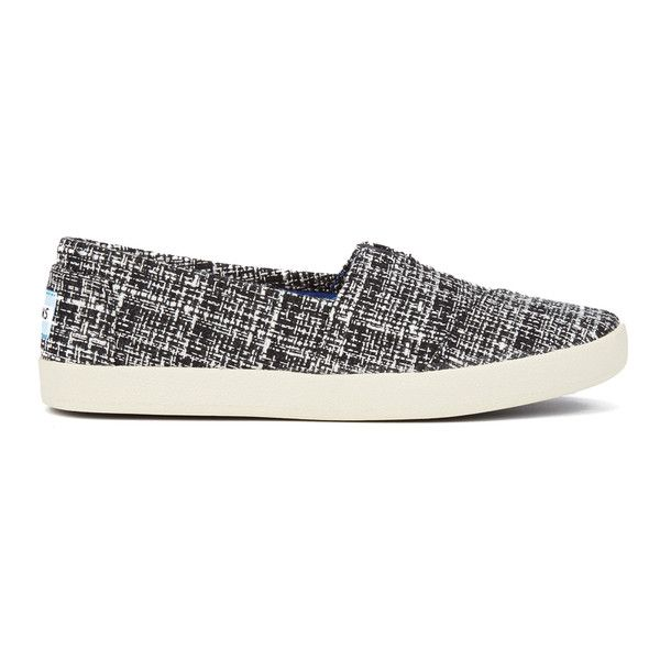 TOMS Women's Avalon Slip-On Trainers (205 DKK) ❤ liked on Polyvore featuring shoes, sneakers, black and white sneakers, grip trainer, low profile sneakers, woven sneakers and black and white slip on sneakers