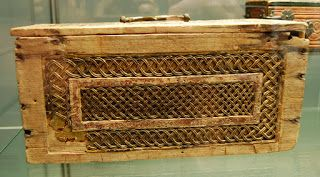 Casket made of oak panels nailed together by iron nails dating of around 1300. Carved linden inlays