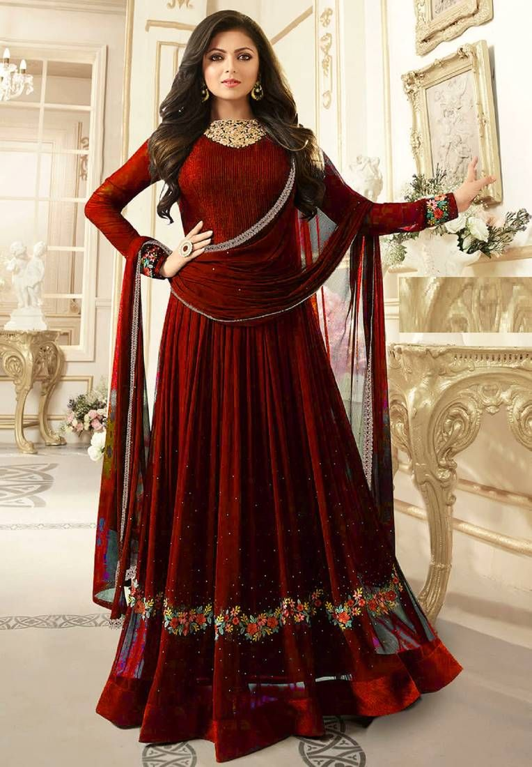 7be531f7e0 Red embroidered faux georgette semi stitched anarkali salwar with dupatta