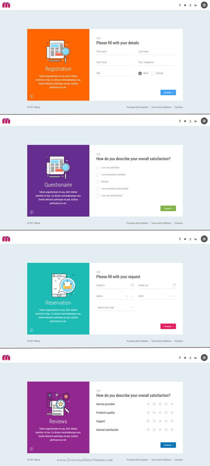 MAVIA Register Reservation Questionare Reviews Form Wizard Ui - Invoice html template bootstrap free download online layaway stores