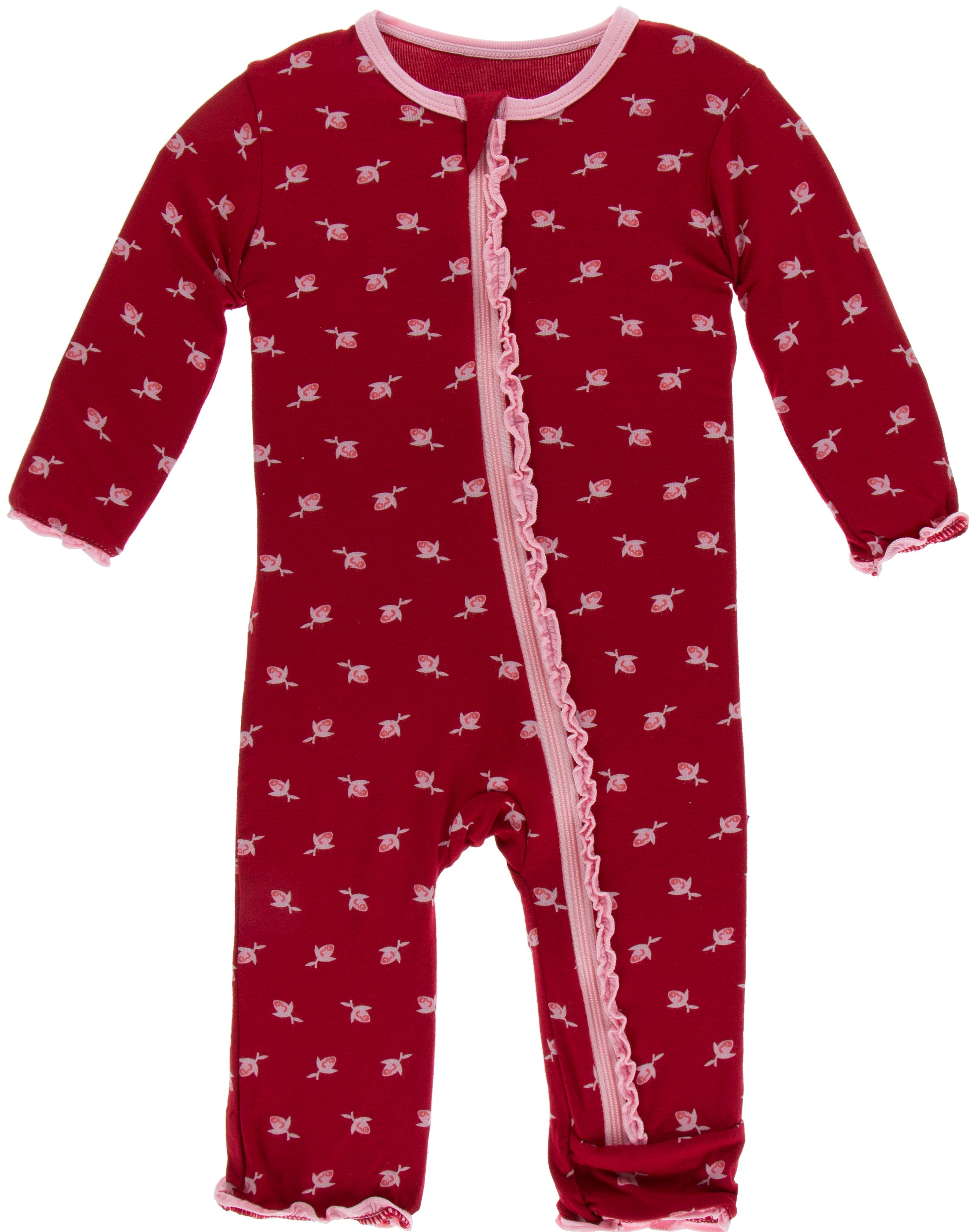 cba91fa0ff67 KicKee Pants Candy Apple Rose Bud Muffin Ruffle Coverall with Zipper-PRESALE