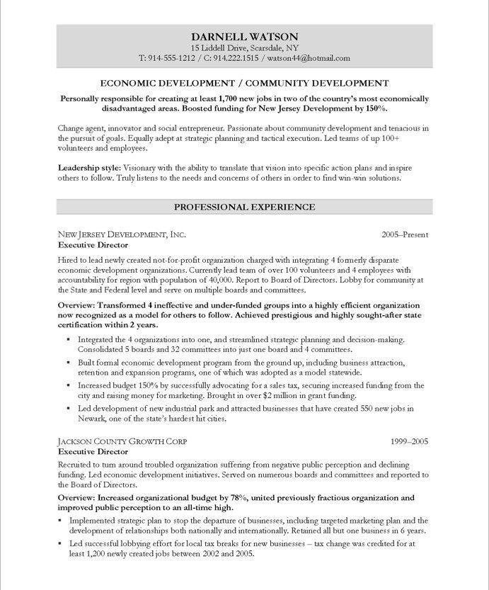 Community Development Executive-Page1 Non Profit Resume Samples