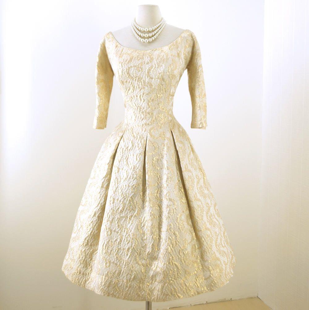 Vintage us dress assic decadence suzy perette rich gold