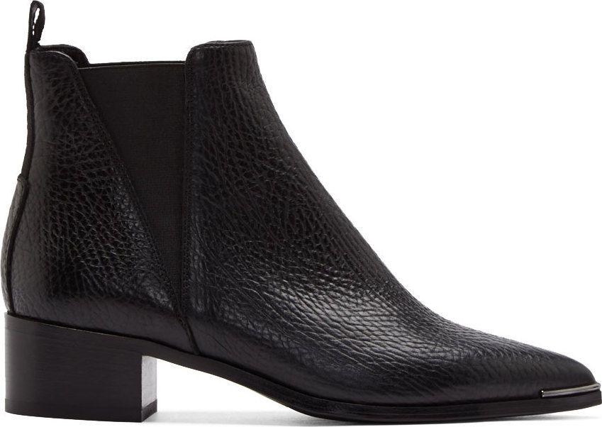 b8cc56b10305 Acne Studios  Bottes Chelsea en cuir grainé noir Jensen   mode ...