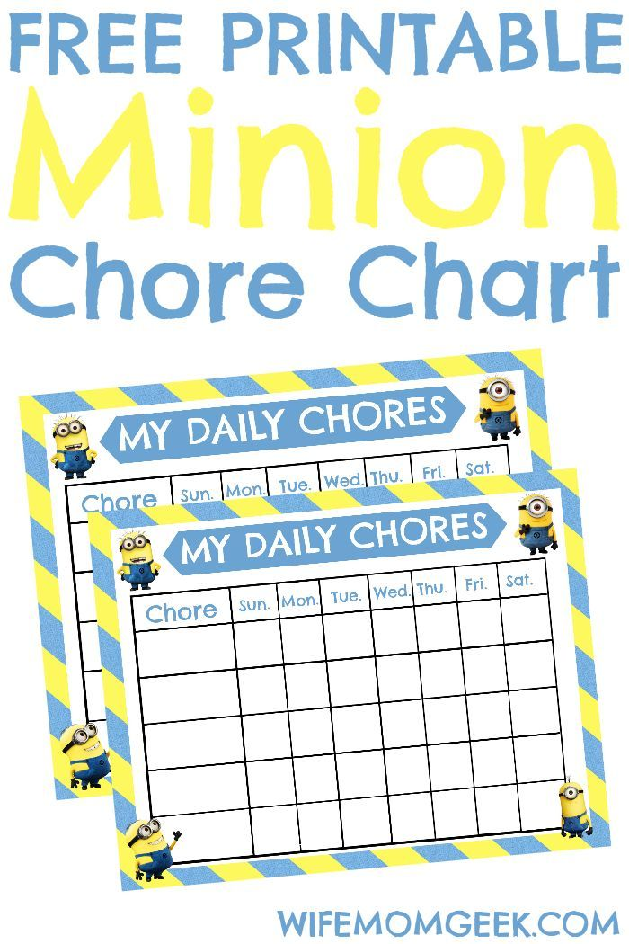 Minion Chore Chart Free Printable Free printable, Chart and Parents - chore chart