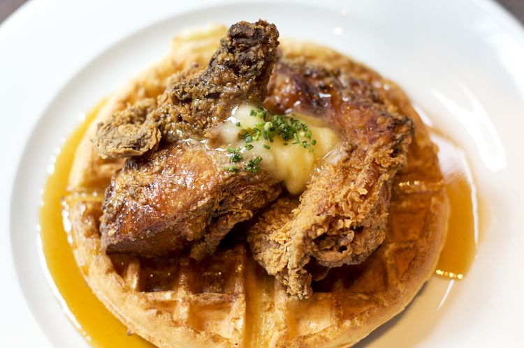 Chicken & Waffles @GranaryTavern Sonya Highfield Photography. Boston food and restaurant photographer