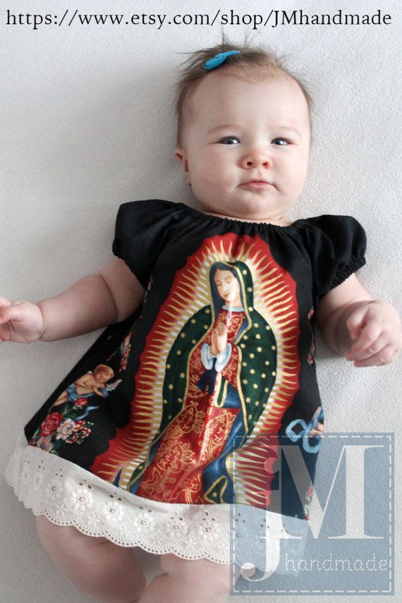 dc10b857b56 Mexican Our lady of Guadalupe baby dress in Black or Cream ...