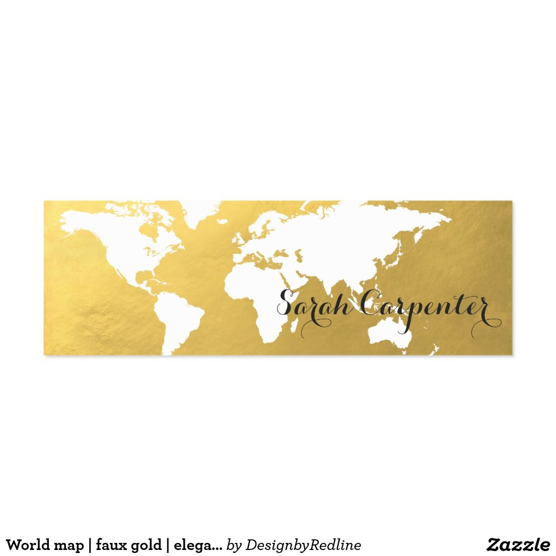 World map | faux gold | elegant mini business card | World ...