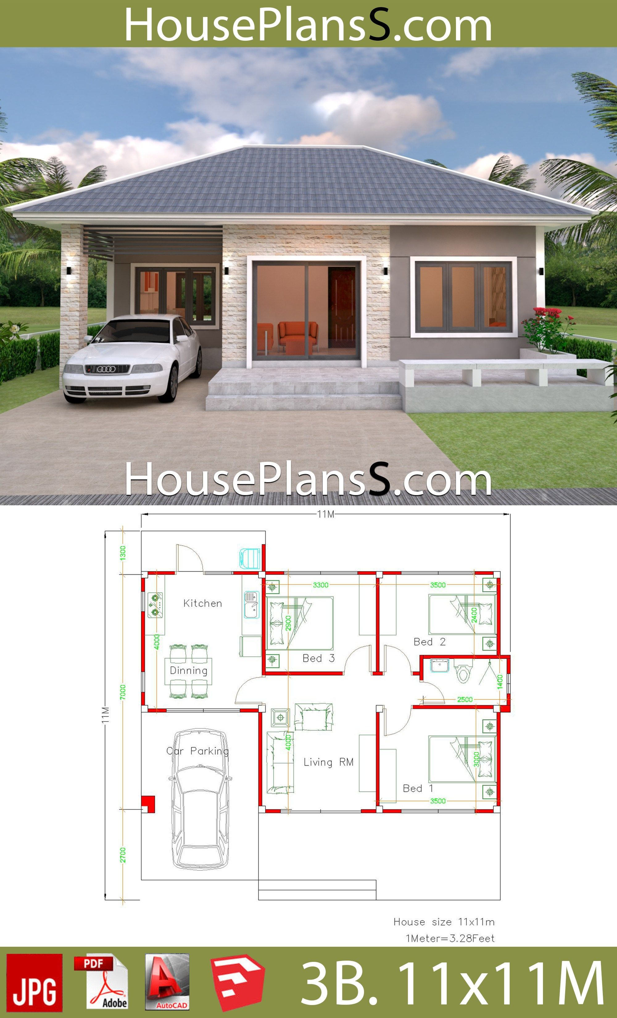 Simple House Design Plans 11x11 With 3 Bedrooms Full Plans Small House Layout Simple House Design Small House Design