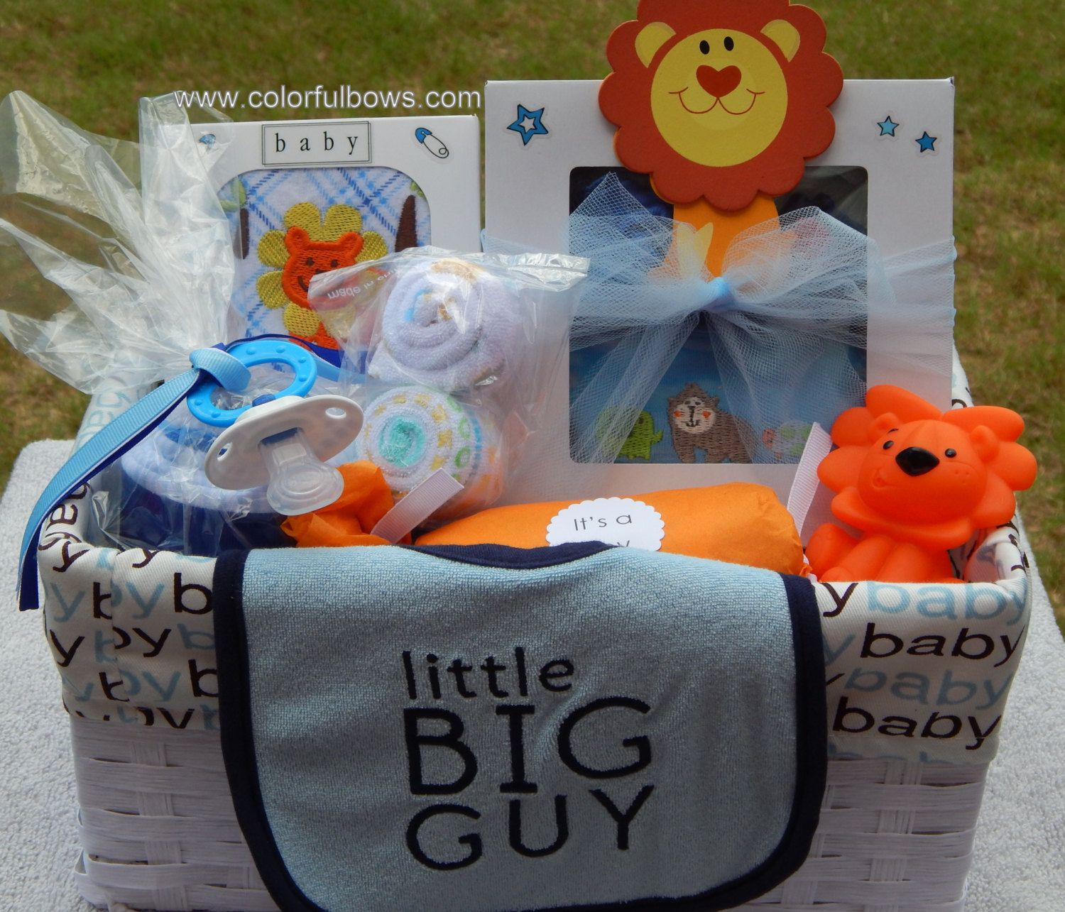Premium little big guy baby boy gift basket ready to ship lion a lion baby gift basket with baby items that are just adorable negle Choice Image