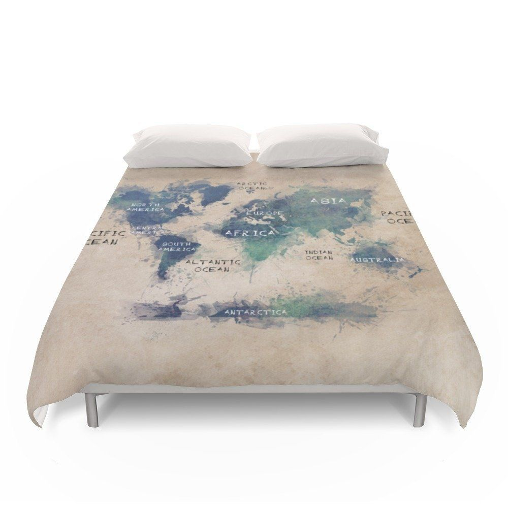 amazoncom society6 map of the world duvet covers queen 88 x